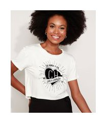 camiseta feminina cropped chapolin flocada manga curta decote redondo off white