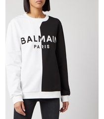 balmain women's bicolored logo sweatshirt - white/black - l
