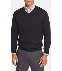 men's big & tall cutter & buck douglas merino wool blend v-neck sweater, size 5xb - black