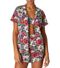 vacation floral-print cotton shirt
