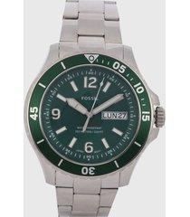 reloj plateado- verde fossil