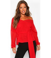 petite dobby mesh off shoulder belted blouse, red