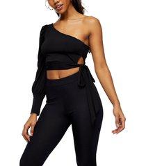 women's topshop one-shoulder side tie top, size 14 us - black