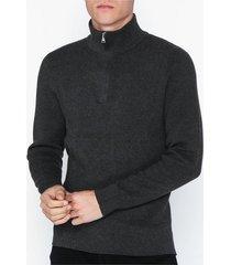 selected homme slhbate milano zip neck b tröjor grå melange