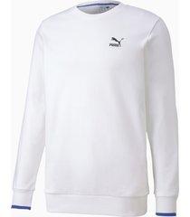 herensweater met lange mouwen, wit, maat l   puma