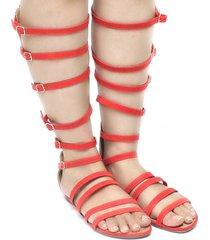 sandália zariff shoes gladiadora camurça vermelho