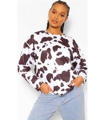 oversized koeienprint sweater, black