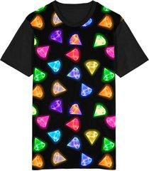 camiseta migian diamantes sublimada preto