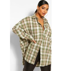 plus oversized boyfriend flannel shirt, khaki