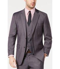 perry ellis men's portfolio slim-fit stretch gray solid suit jacket