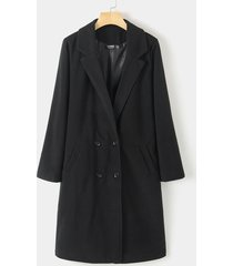 button design notch collar trench coat