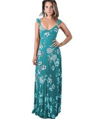 vestido largo jaipur flores turquesa maria paskaro