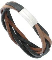 bracelete tudo joias de couro rosso trançado fecho aço inox