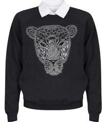 bluza z tygrysem z kołnierzykiem czarna