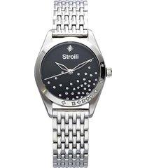 orologio solo tempo con cinturino e cassa in acciaio silver, quadrante nero per donna