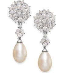 arabella cultured freshwater pearl and swarovski zirconia drop earrings in sterling silver (8mm)