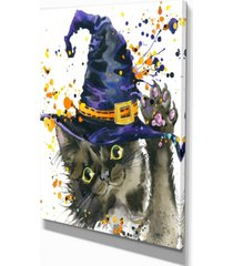 "designart halloween cat and witch hat contemporary animal art canvas - 12"" x 20"""
