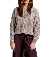 women's michael stars michelle alta shaker stitch boxy crop cotton blend sweater