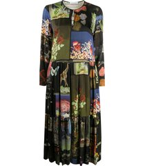 vivetta printed patch-work dress - black