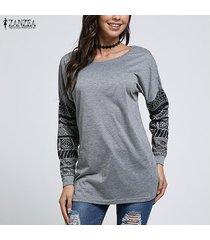 zanzea para mujer de las tapas del algodón suéter de manga larga ocasional de la camisa de la blusa del suéter del puente -gris