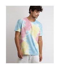 camiseta masculina estampada tie dye manga curta gola careca multicor