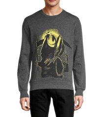 eleven paris men's graphic cotton-blend sweatshirt - grey - size s