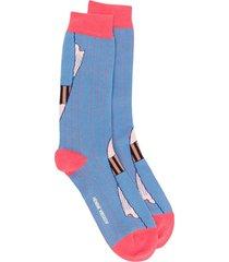 henrik vibskov intarsia knit mid-calf socks - blue