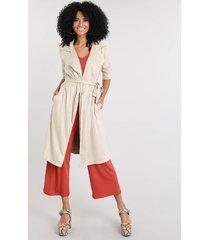 casaco trench coat feminino em suede bege claro