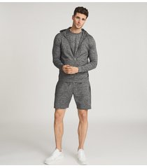 reiss vimo - melange high stretch jersey shorts in charcoal, mens, size xxl