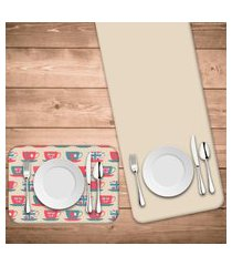 jogo americano com caminho de mesa wevans xícara love kit com 4 pçs + 1 trilho