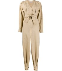 givenchy bow-tie front jumpsuit - neutrals