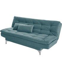 sofá cama 3 lugares pratic império estofados azul turquesa