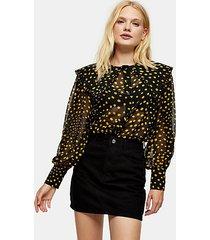 black and mustard spot collar shirt - mustard
