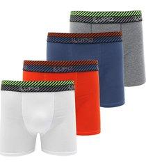 kit 4pçs cueca lupo boxer logo branco/cinza/azul