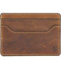 men's frye logan leather money clip card case - brown