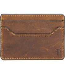 men's frye logan leather money clip card case - brown