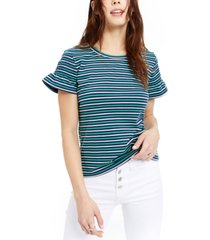 maison jules striped smocked-sleeve knit top, created for macy's