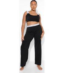 plus gestreepte wide leg woman pyjama, black