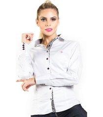 camisa carlos brusman feminina slim reta micro poá