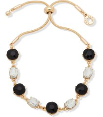 anne klein gold-tone stone bolo bracelet