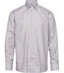 blue & brown gingham checked twill shirt overhemd casual blauw eton