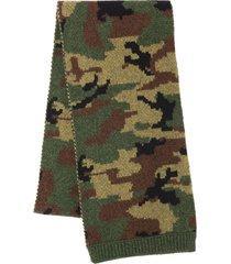 miu miu camouflage intarsia scarf - grey