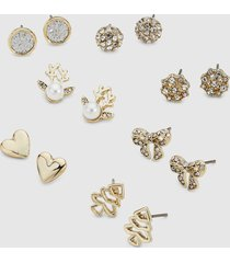 lane bryant women's stud earrings - 7-pack - winter wonderland onesz gold tone