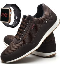 sapatãªnis sapato casual juilli com relã³gio com cadarã§o 1100l cafã© marrom - marrom - masculino - tãªxtil - dafiti