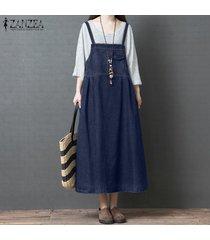 zanzea vestido de camisa casual azul denim para mujer vestido de faldas con tirantes de verano vestido sin mangas -azul oscuro