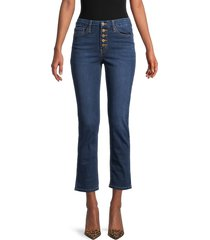 flying monkey women's high-rise crop straight jeans - blue - size 25 (2)