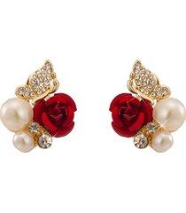 orecchini in oro rosa placcato oro rosso con strass orecchini in oro con perla per donna