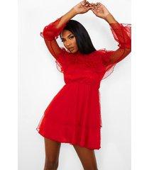 dobby mini jurk met hoge kraag en ruches, rood