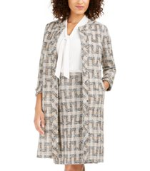 anne klein fringed tweed long topper jacket
