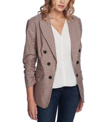 1.state printed ruched-sleeve blazer